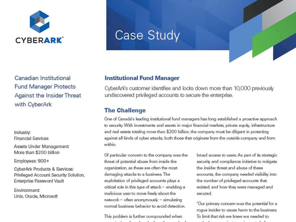resource type case study cyberark canadian institutional fund manager protects against the insider threat cyberark