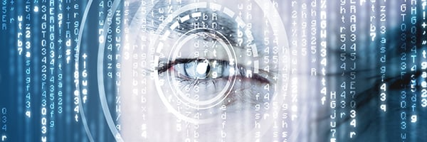 Modern cyber soldier with target matrix eye concept