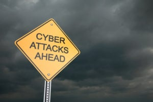 Warning road sign, Cyber Attacks Ahead , 3d render