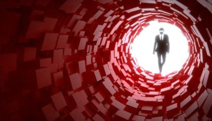 Hacker entering a red cubic tunnel cybersecurity concept 3D illustration