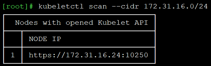 Scanning for open kubelet ports with kubeletctl
